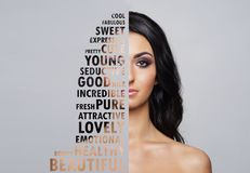 Portrait of young and healthy woman in health care and cosmetics concept. Collage with word mosaic Royalty Free Stock Photos