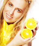 Portrait on young and healthy woman with orange Royalty Free Stock Photo