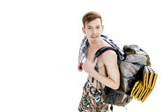 Portrait of young hiker with backpack on white background Royalty Free Stock Images