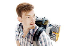 Portrait of young hiker with backpack on white background Stock Photos