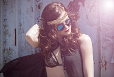 Portrait of young hippie girl in sunglases stock photos