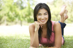 Portrait Of Young Hispanic Woman In Park Stock Image