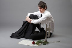 Portrait young man enamoured love Trumpet Stock Photo