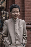 Portrait of a young kid in Bhaktapur royalty free stock image
