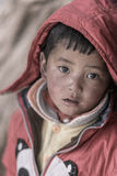 Portrait of a young kid in Tibet, China Stock Image