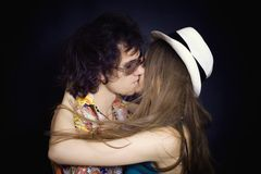 Portrait of  young kissing couple Royalty Free Stock Image