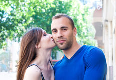 Portrait of Young kissing couple Royalty Free Stock Photography