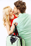 Portrait of an young kissing couple Royalty Free Stock Photos