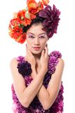 Lady Flower. Portrait of a young lady in a flower dress isolated stock image