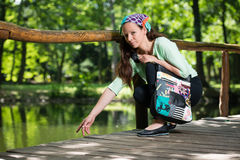 Portrait of young lady with handbag Royalty Free Stock Photos