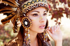 Portrait of a young lady in the Indian roach Royalty Free Stock Photography
