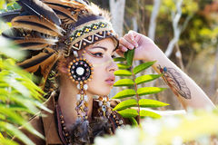 Portrait of a young lady in the Indian roach Royalty Free Stock Photo