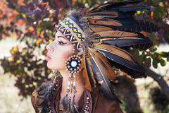 Portrait of a young lady in the Indian roach Royalty Free Stock Images