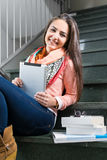Portrait of a young lady with a tablet Royalty Free Stock Images