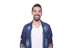 Portrait of a young latin man against white background. Portrait of a young latin man smiling.  white background Stock Photography