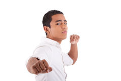 Portrait of young latin man with his arms raised Royalty Free Stock Photography