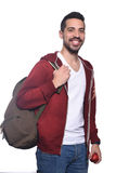 Portrait of young latin student with an apple and backpack . Portrait of young latin student with an apple and backpack. Isolated white background Stock Images