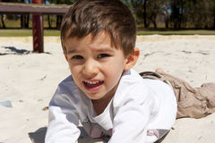 Portrait young latino boy in playground royalty free stock photos