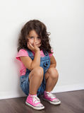 Portrait young, little girl. Portrait young girl, charming,  grieving Royalty Free Stock Photo