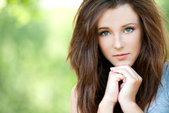 Portrait of young long-haired woman Royalty Free Stock Image