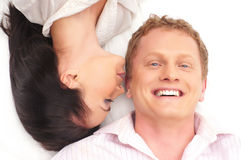 Portrait of a young and lovely Caucasian couple Stock Images