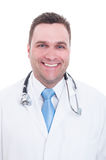 Portrait of young male doctor smiling isolated on white. Portrait of young male doctor smiling feeling confident and positive isolated on white Royalty Free Stock Image