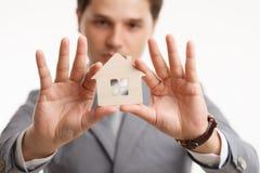 Portrait Young male Estate agent. Mortgage concept Stock Photo