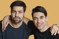 Portrait of a young male friends with arms around over colored background Royalty Free Stock Photos