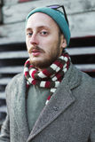 Portrait of a young male hipster outdoor Stock Image
