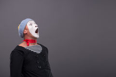 Portrait of young male mime with white face, grey Stock Photo