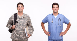 Portrait of a young male nurse and a soldier with backpack and d. Portrait of male nurse and soldier posing Royalty Free Stock Photography