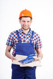 Portrait of a young male tiler Stock Photo