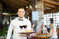 Portrait young male waiter. Portrait of a cheerful male waiter with a tray in his hand at the restaurant Royalty Free Stock Photos