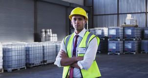 Portrait of young male warehouse worker 4k stock footage