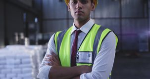 Portrait of young male warehouse worker 4k stock video