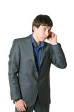 Portrait of the young man. Young man costs speaks by phone stock images