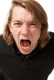Portrait young man with anger Stock Photo