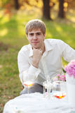 Portrait of young man in the autumn park Royalty Free Stock Images