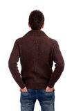 Young man from back. Portrait of young man from back over white background Stock Image