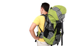 Portrait of young man backpacker from behind Stock Photo