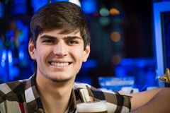 Portrait of a young man at the bar Royalty Free Stock Photos