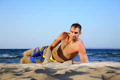 Portrait of a young man on the beach Royalty Free Stock Images