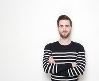 Portrait of a young man with beard. Close up portrait of a young man with beard posing against white background Stock Images