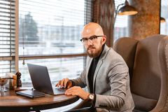 Portrait of young man with beard in the glasses looking to the monitor laptop. Successful people, businessman in royalty free stock photography