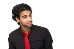 Portrait of a young man in black shirt and red tie Royalty Free Stock Photos