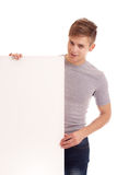 Portrait of young man with blank board Stock Photography