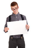 Portrait of a young man with blank board Royalty Free Stock Images