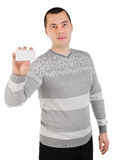 Portrait of young man with business card Stock Photography