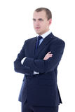 Portrait of young man in business suit isolated on white. Background Royalty Free Stock Images