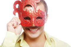Portrait of young man with carnival mask Royalty Free Stock Photography